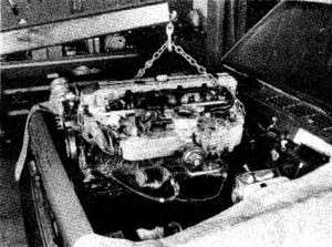 5.24a Pull the engine forward as far as possible to clear the transmission, .
