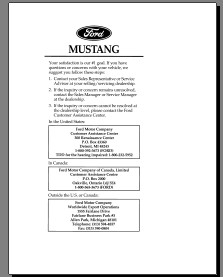 1996 To 2012 Ford Mustang Owners Manual Free Download